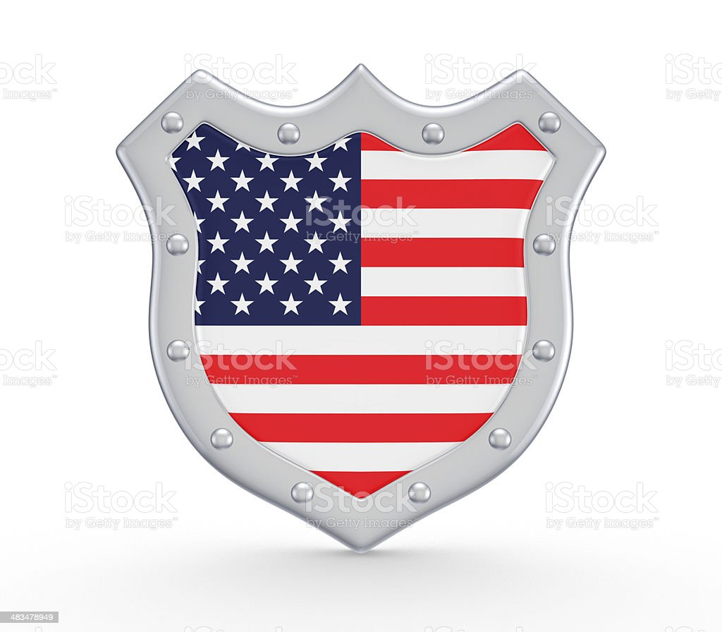 Shield with american flag. stock photo