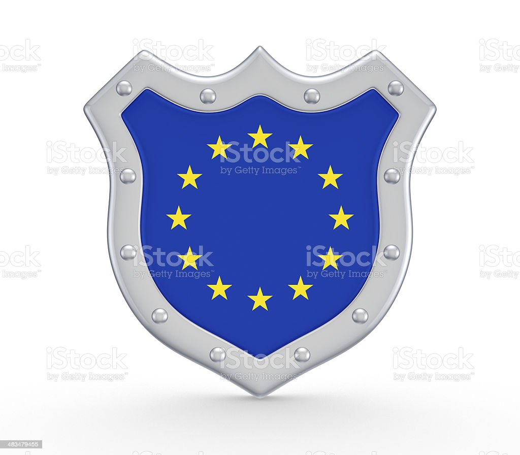 Shield with flag of EU. stock photo