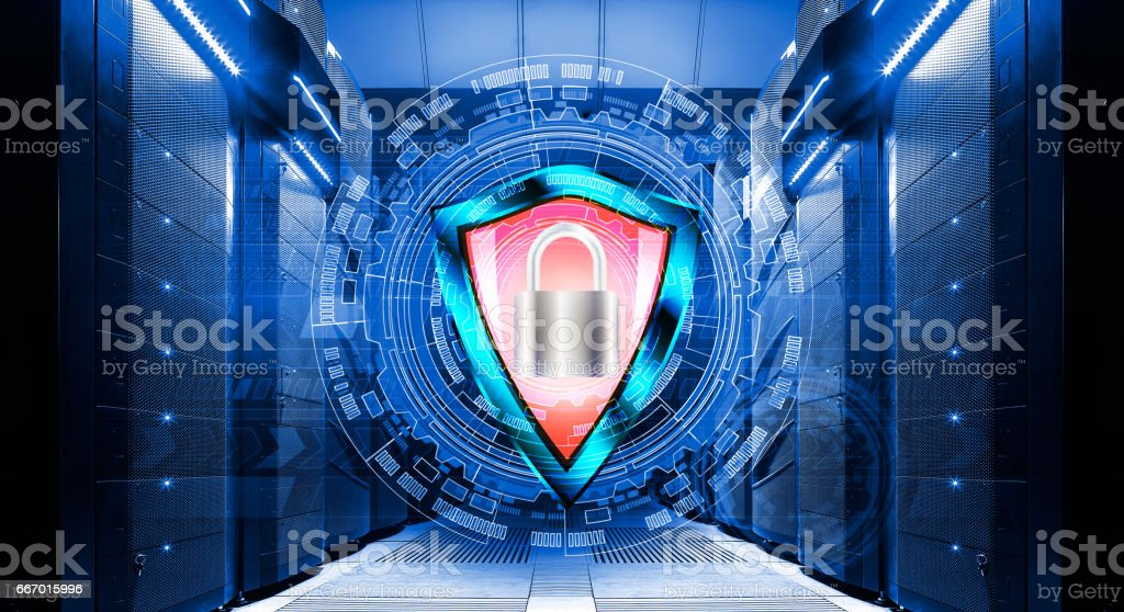 shield with padlock on background of abstract backgrounds in data center among the rows  supercomputers stock photo