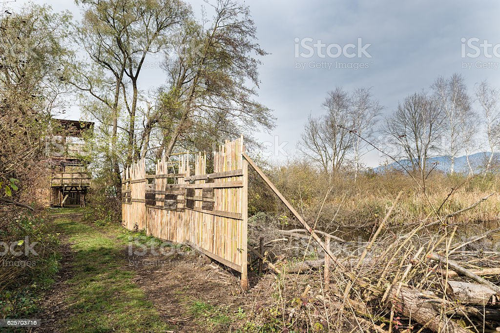 Shielding barrier for birdwatching, Brabbia marsh, province of Varese, Italy stock photo