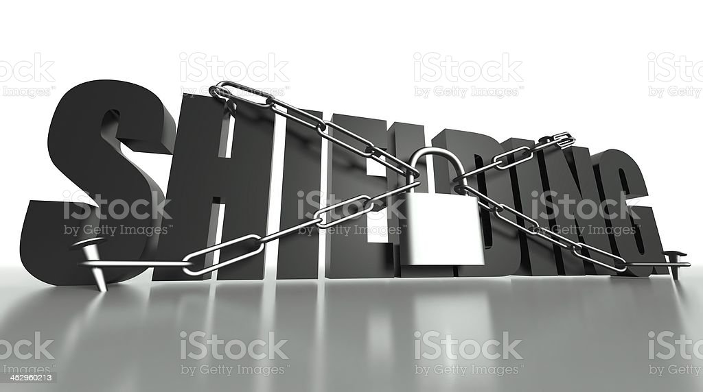 Shielding concept, safety padlock and chain royalty-free stock photo
