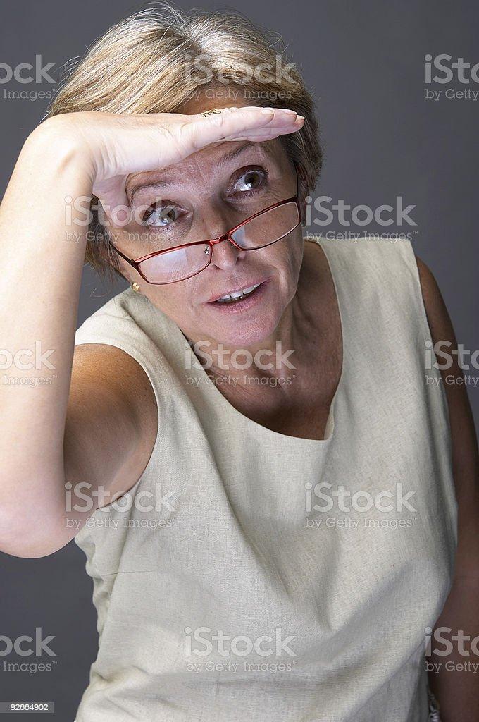 Shielding eyes royalty-free stock photo
