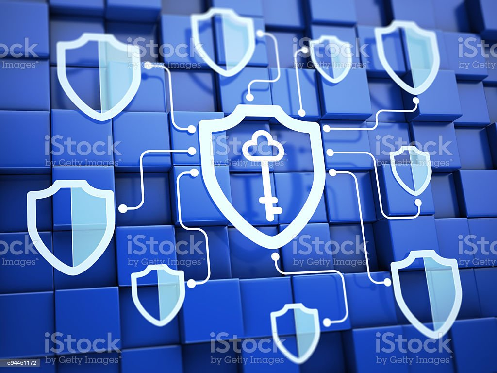 Shields with key. Secure system concept stock photo