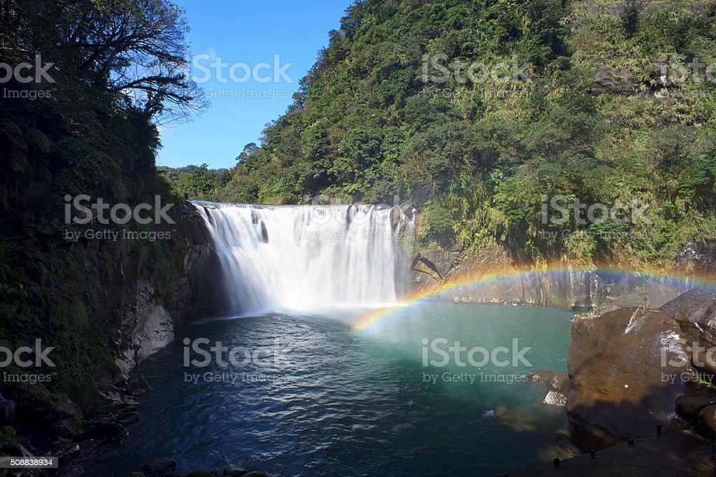 shifen waterfall in pingxi, Taipei, Taiwan stock photo