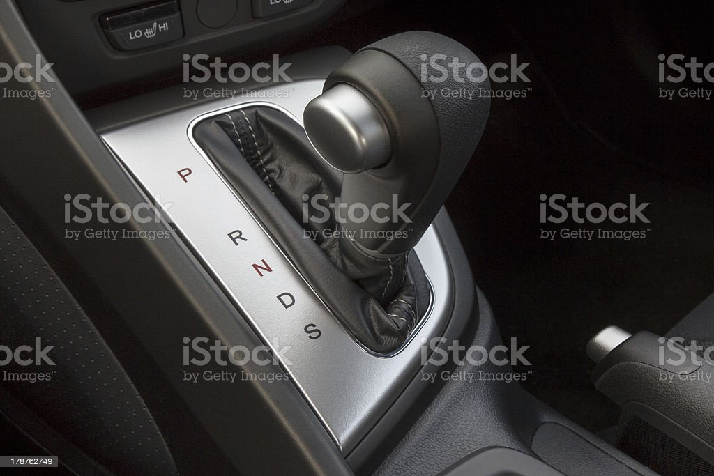 A shift gear knob inside of a vehicle stock photo
