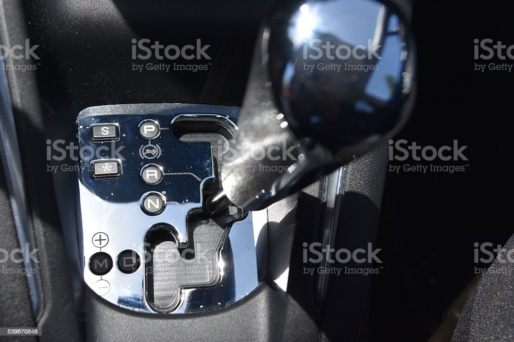 shift gear knob inside of a vehicle stock photo