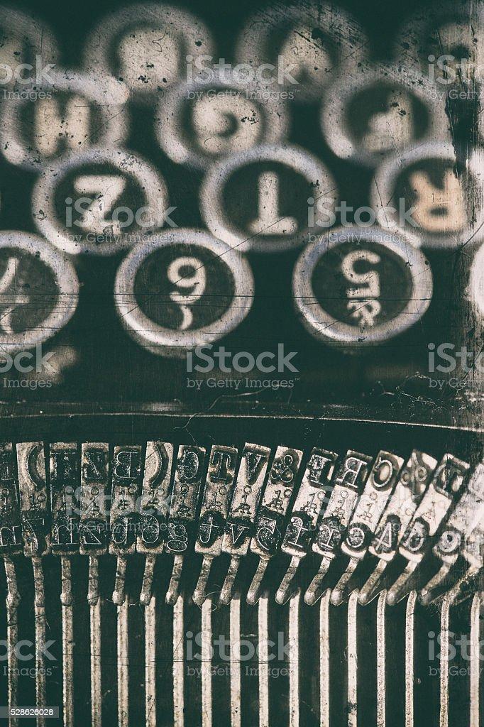 Shift key on a old typewriter keyboard stock photo