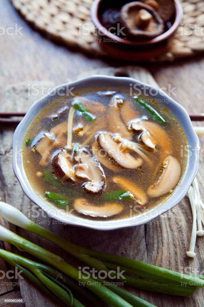Shiitake enoki mushrooms  japanese  soup . stock photo