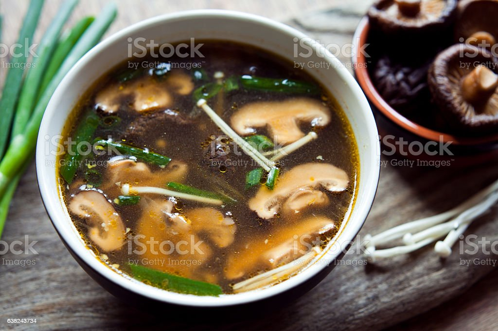 Shiitake mushrooms Chinese soup. stock photo