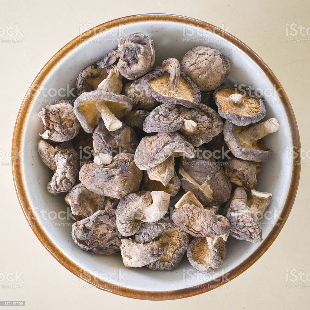 Shiitake Mushrooms on wood background royalty-free stock photo