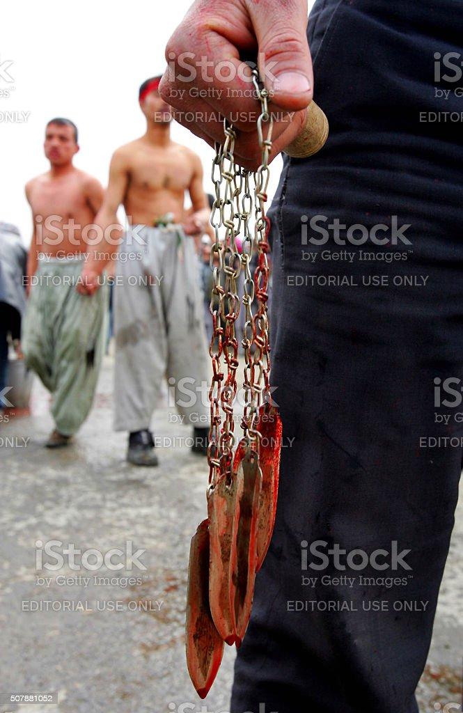 shiite Ashura religion,self-flagellation stock photo