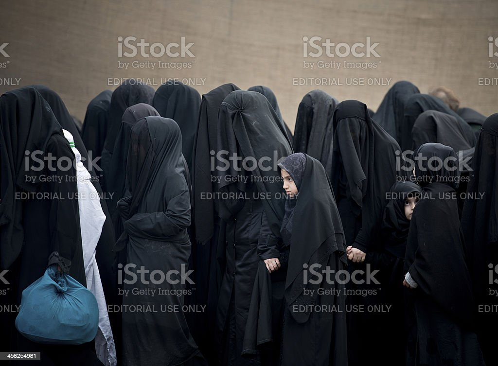 Shiite Muslims take part in a religious procession royalty-free stock photo