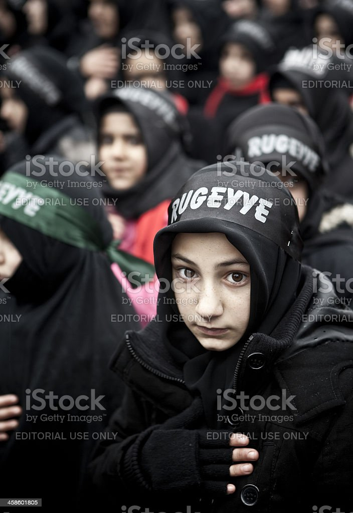 Shiite Muslims take part in a religious procession stock photo