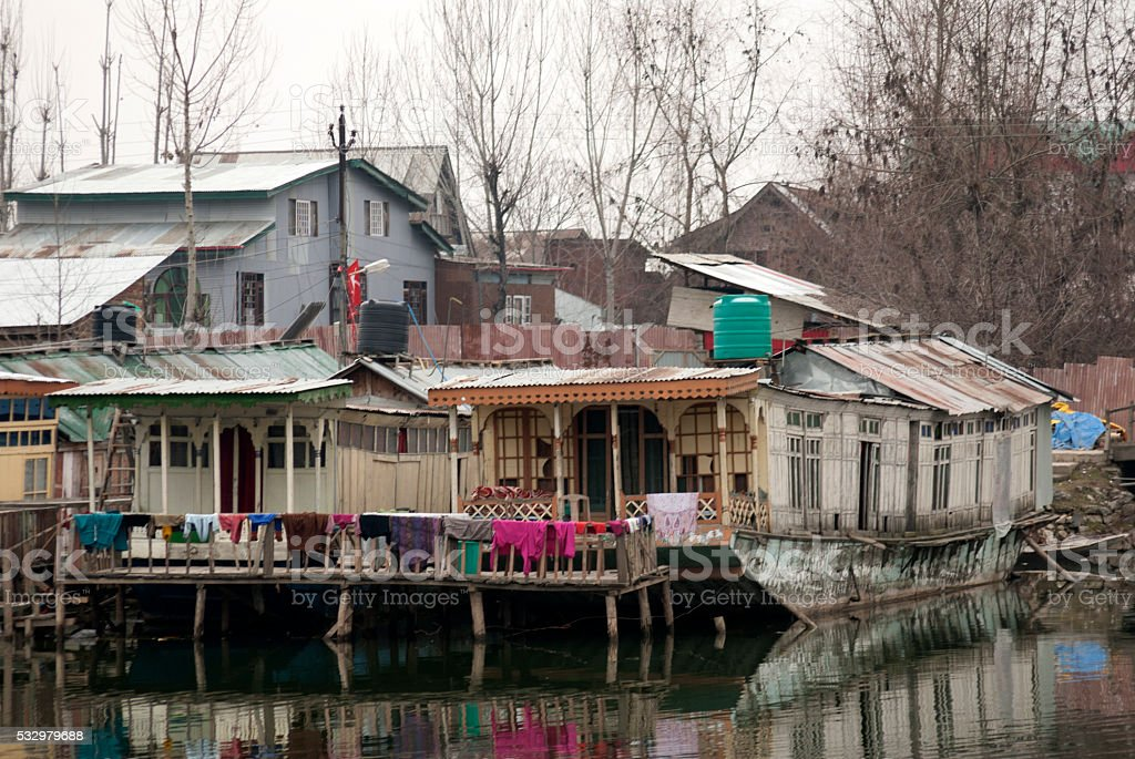 Shikara Boats in Srinagar stock photo