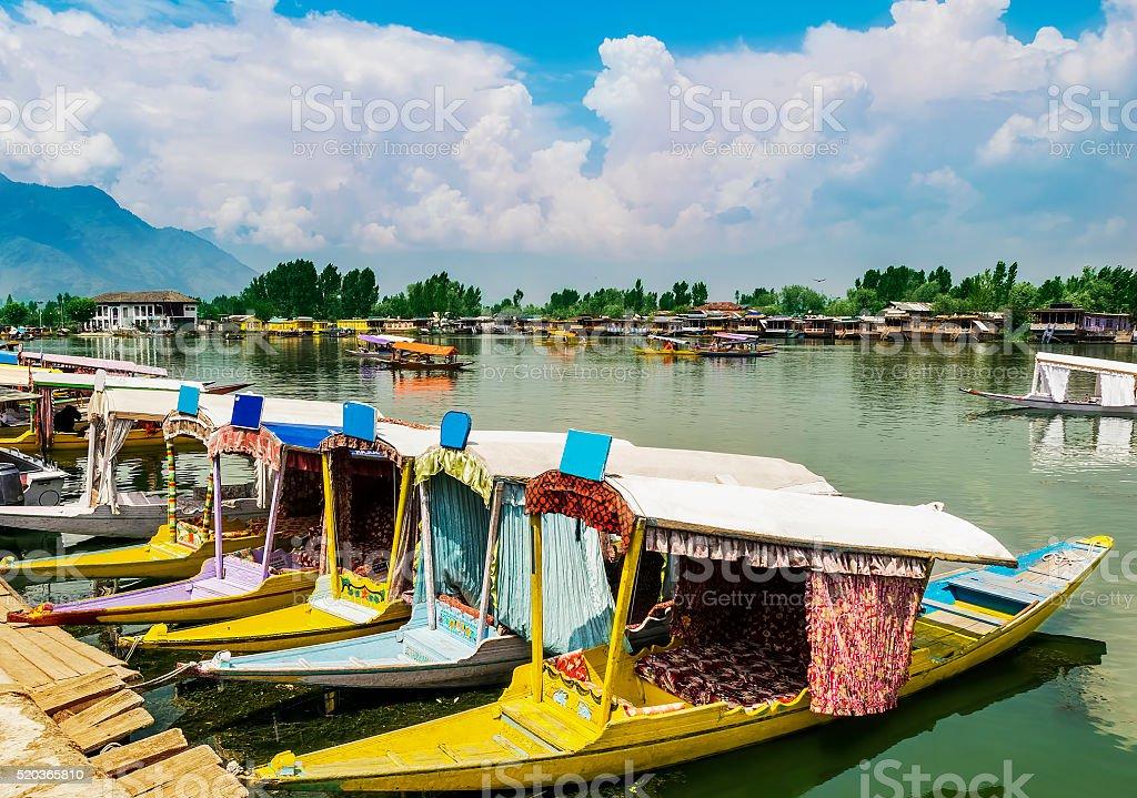Shikara Boats / Lifestyle in Dal Lake, Srinagar, Kashmir, India stock photo