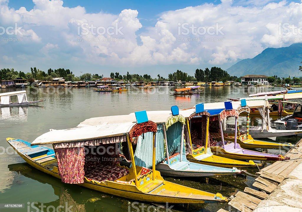 Shikara Boats on Dal Lake, Srinagar, Kashmir, India stock photo