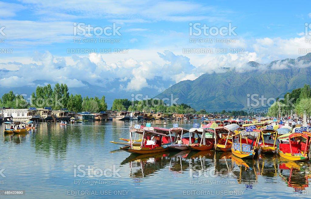 Shikara boats on Dal lake, Srinagar stock photo
