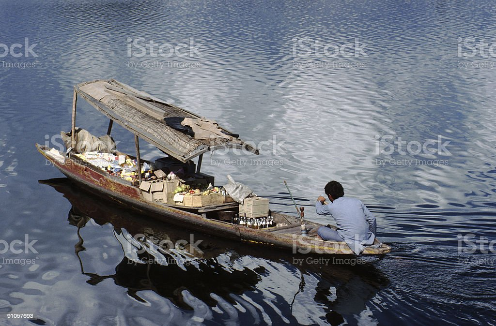 Shikara shop on the lake at Srinagar royalty-free stock photo