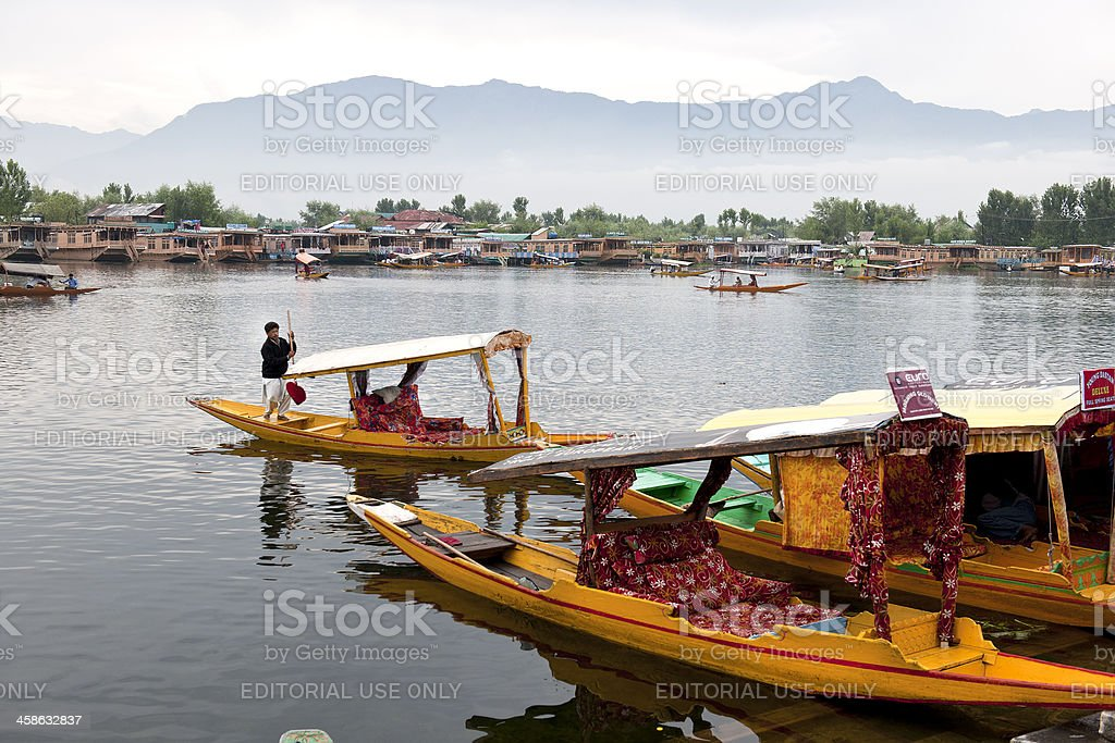 Shikaras and Houseboats in Lake Dal stock photo