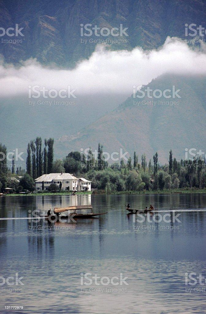 Shikaras on Dal Lake, Kashmir stock photo