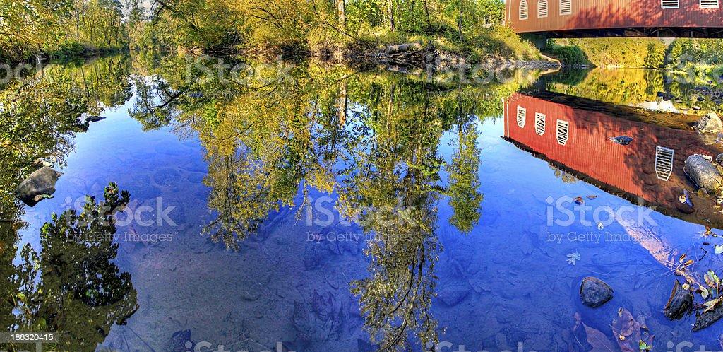 Shimanek Covered Bridge Oregon Reflection stock photo
