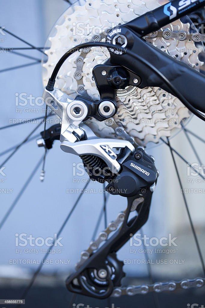 Shimano mountain bike rear derailleur stock photo