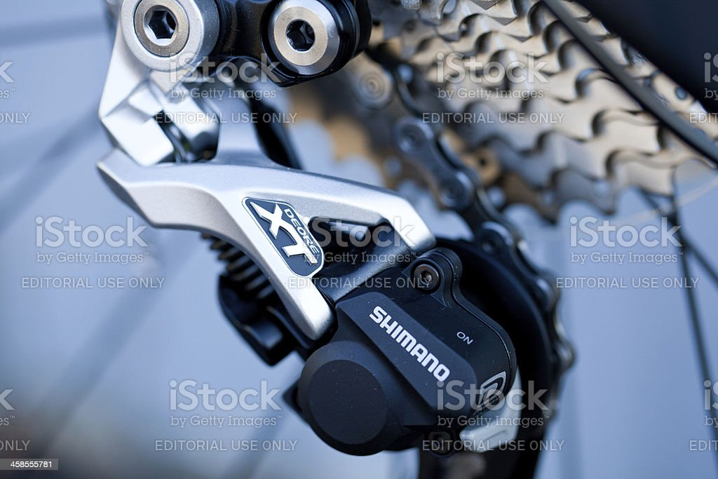 Shimano mountain bike rear derailleur royalty-free stock photo