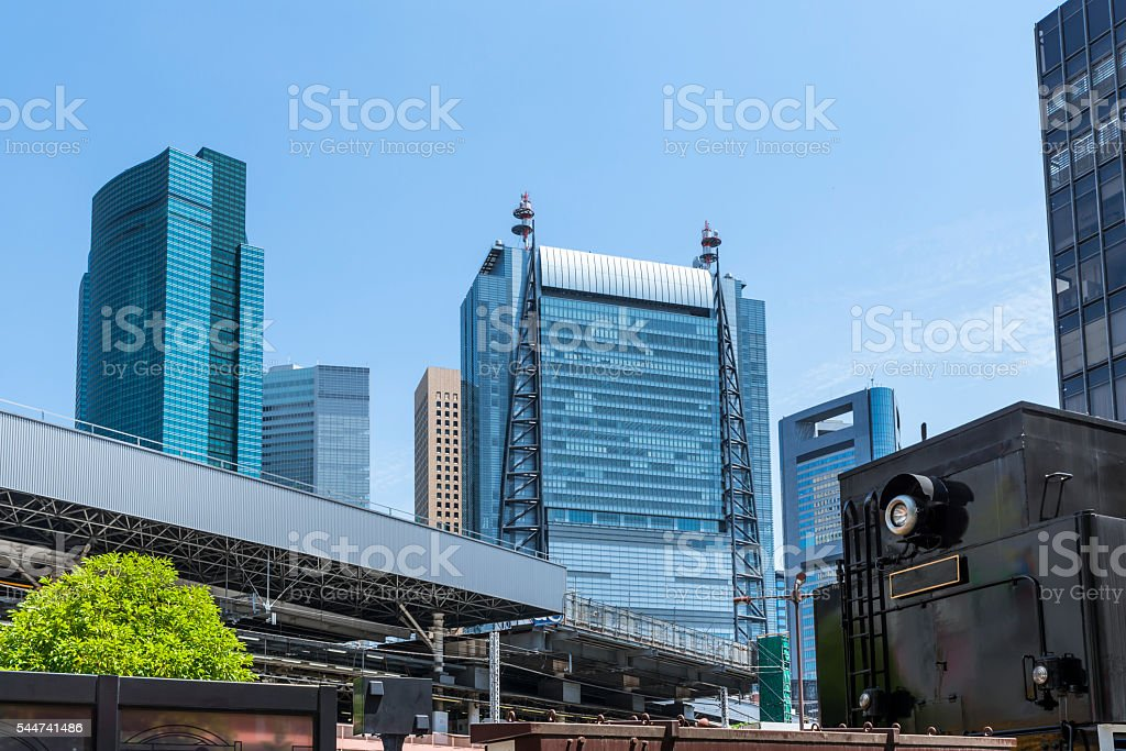 Shimbashi Station and Shiodome business district stock photo