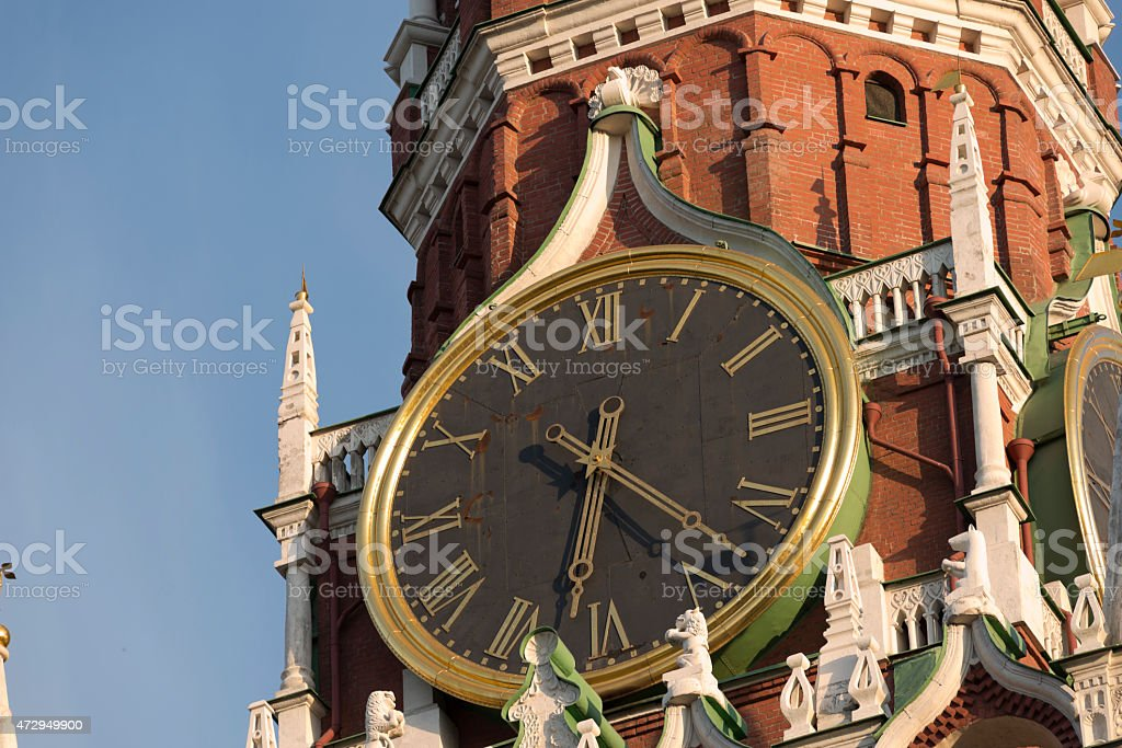 Shiming clock on Kremlin in Moscow stock photo