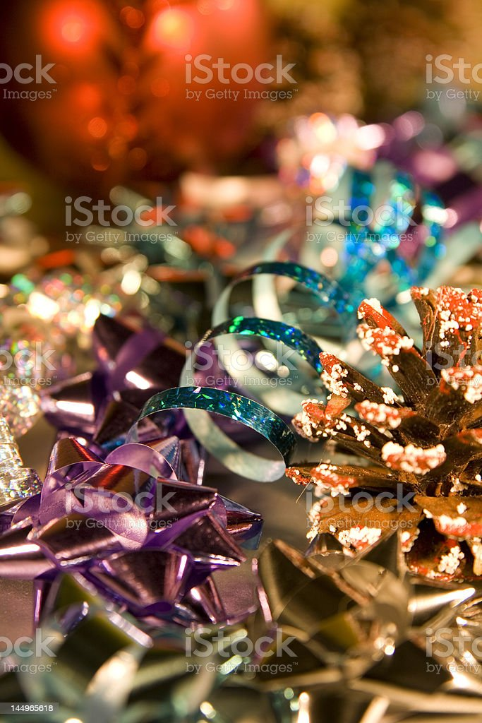 Shimmering Christmas Wrapping and Decorations stock photo