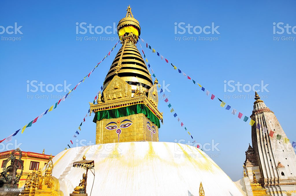 Shimmering Swayambhunath Stupa (Monkey Temple), Kathmandu, Nepal stock photo