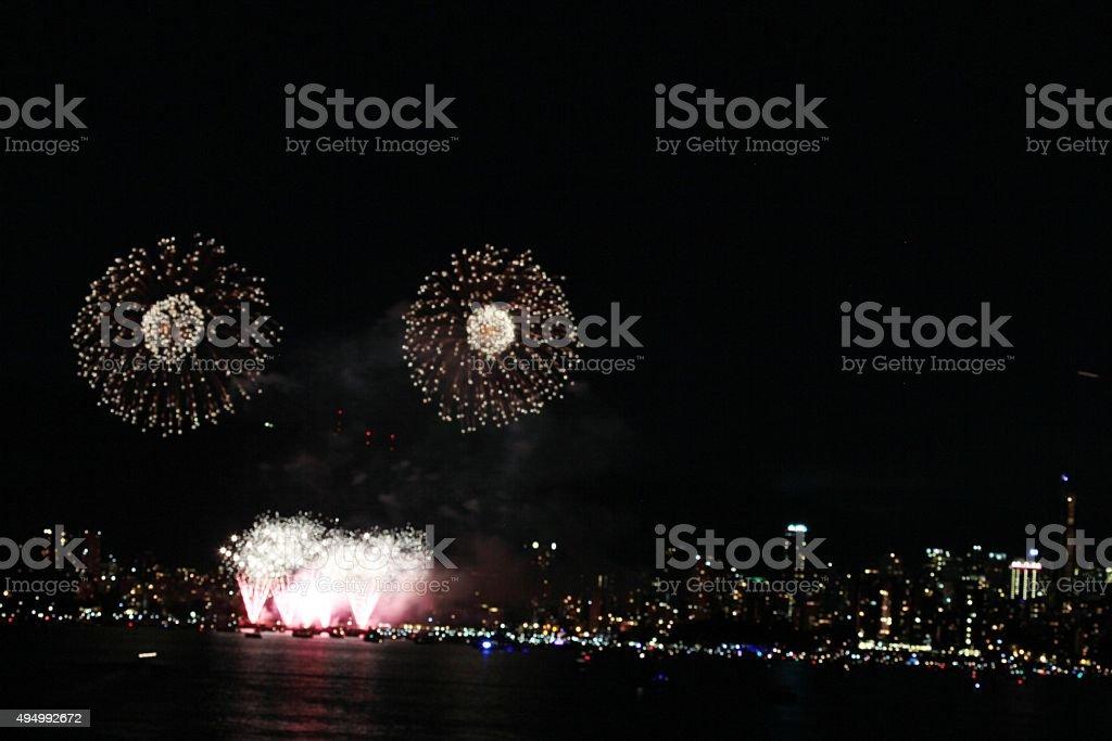Shimmmering Fireworks stock photo