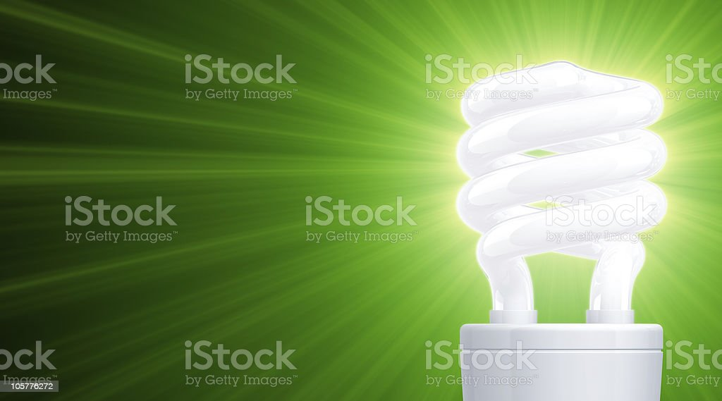 Shine of Compact Fluorescent LightBulb (Close-up) royalty-free stock photo