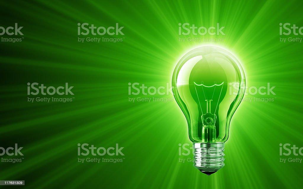 Shine of Green Light Bulb stock photo