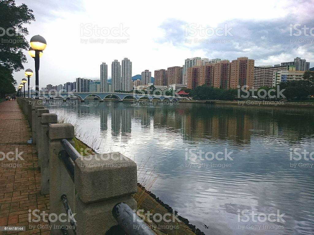 Shing Mun River in Sha Tin, Hong Kong stock photo