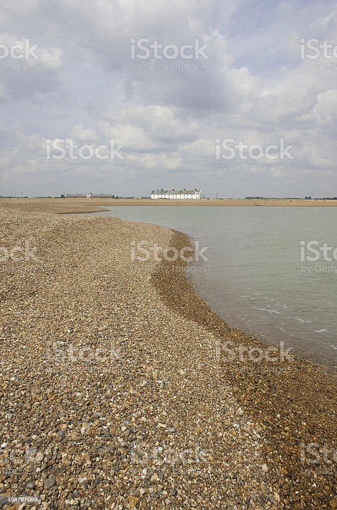 Shingle bank at Shingle Street, Suffolk stock photo