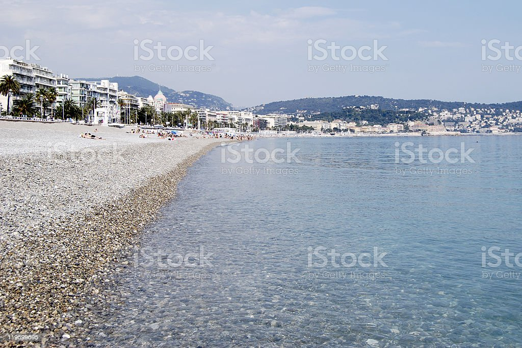 Shingle beach at Nice. Provence. France royalty-free stock photo