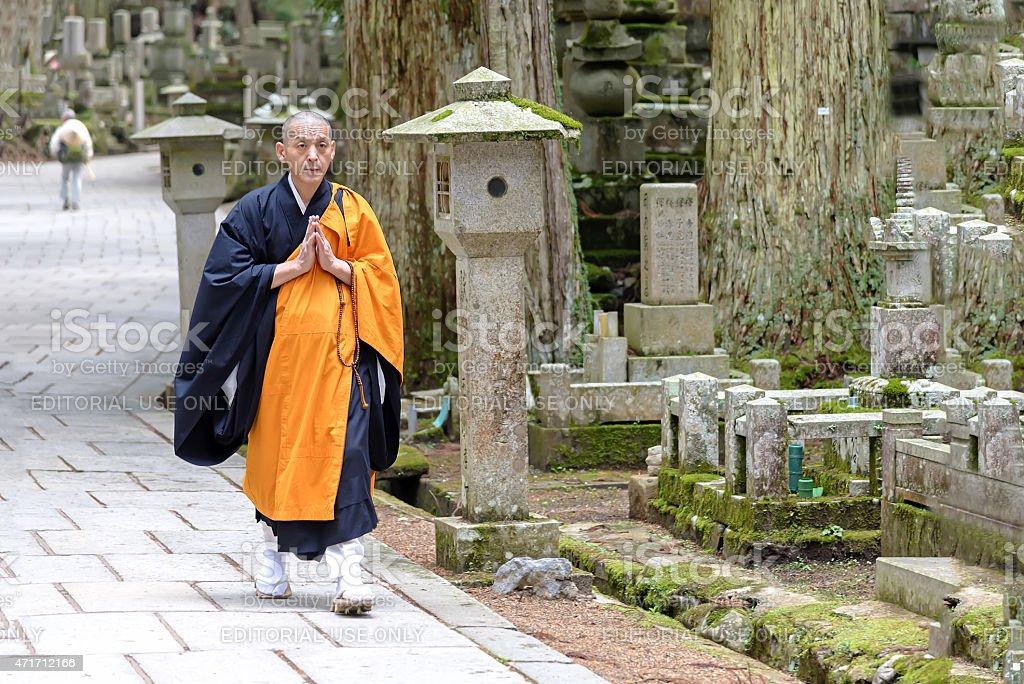 Shingon Monk in Okunoin Cemetery at K?ya-san, Japan stock photo