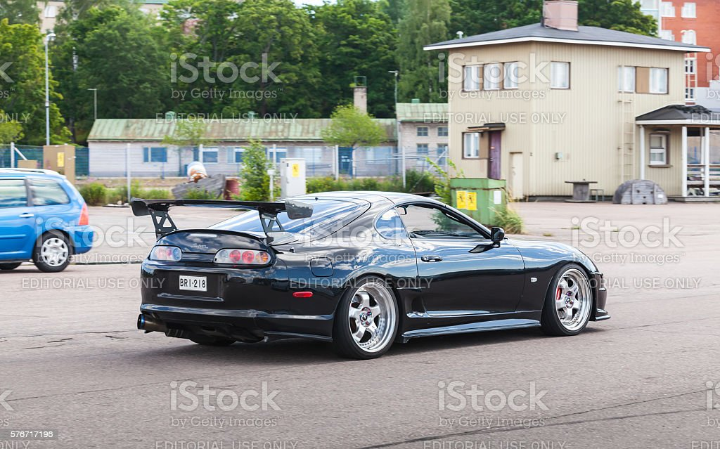 Shining black Toyota Supra A80 stock photo