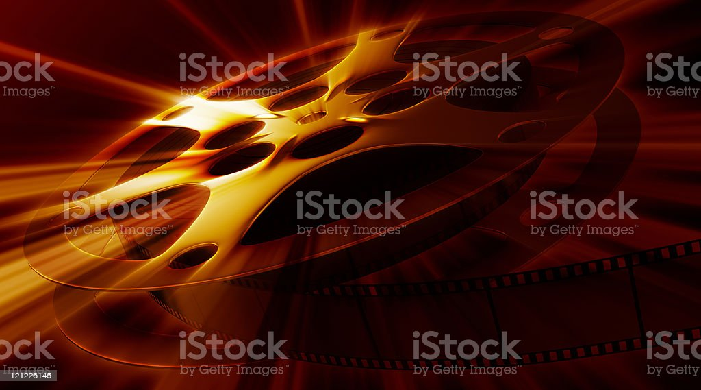 Shining film reel on the dark background. XXXL size stock photo