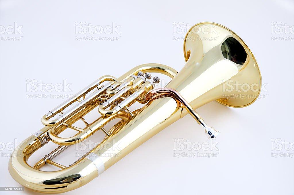 Shining gold euphonium instrument on white background stock photo
