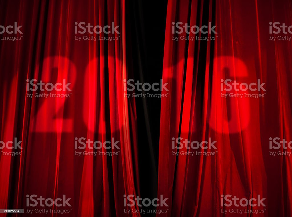 2016 Shining on Red Stage Curtain stock photo