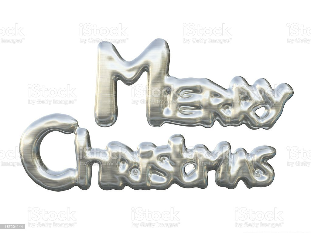 Shining Silver Lettering Merry Christmas Isolated On White Background stock photo