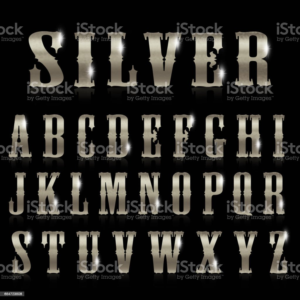 Shining silver letters on black background stock photo