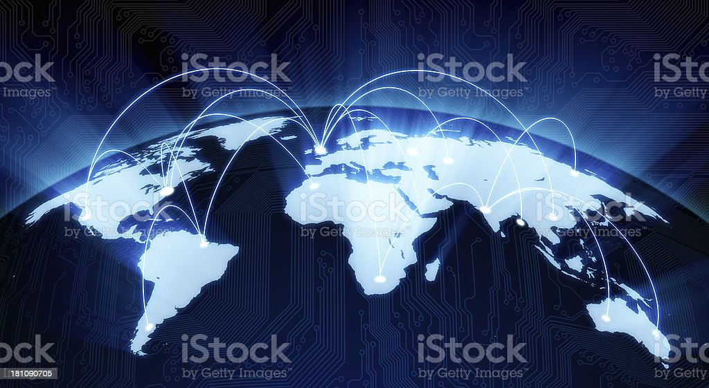 Shining world map with flight paths stock photo