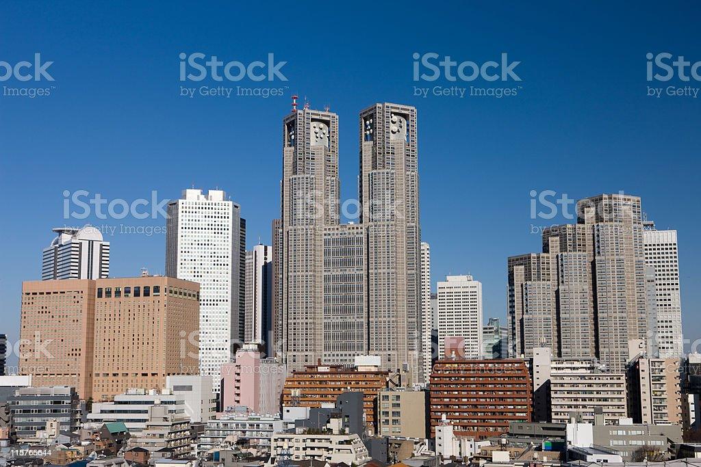 Shinjuku  office tower street stock photo
