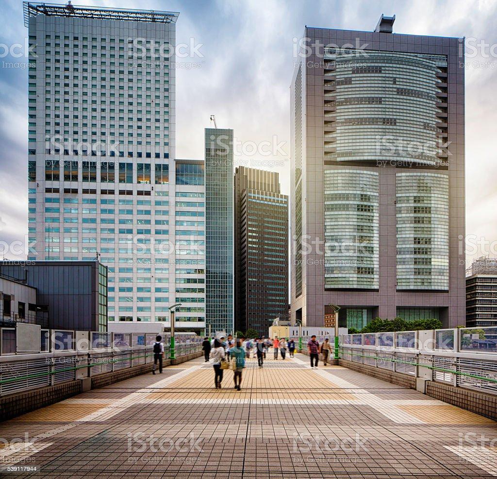 Shinjuku Overpass with modern buildings and dramatic sky stock photo