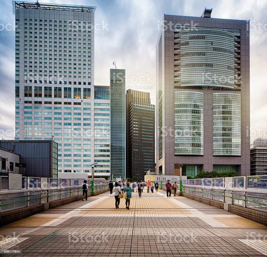 Shinjuku Overpass with modern buildings and dramatic sky stock photo