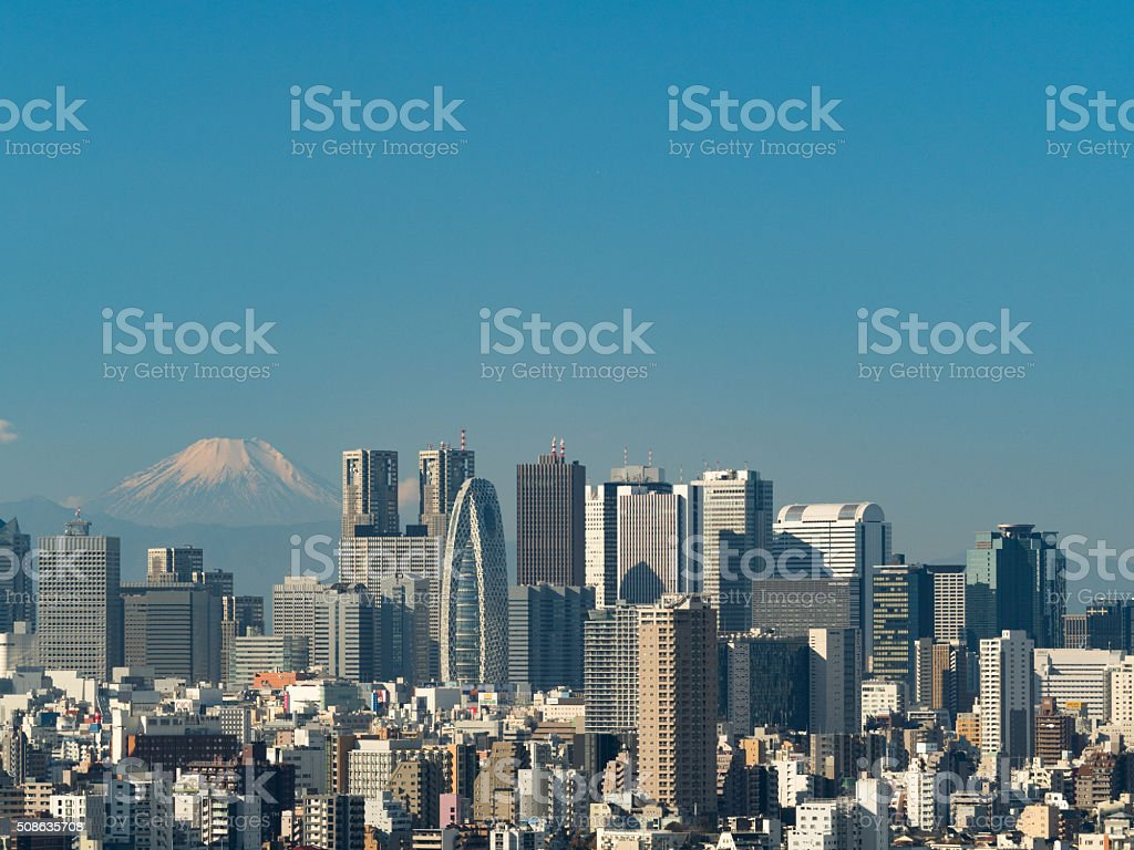 Shinjuku skyscrapers and Mount Fuji stock photo