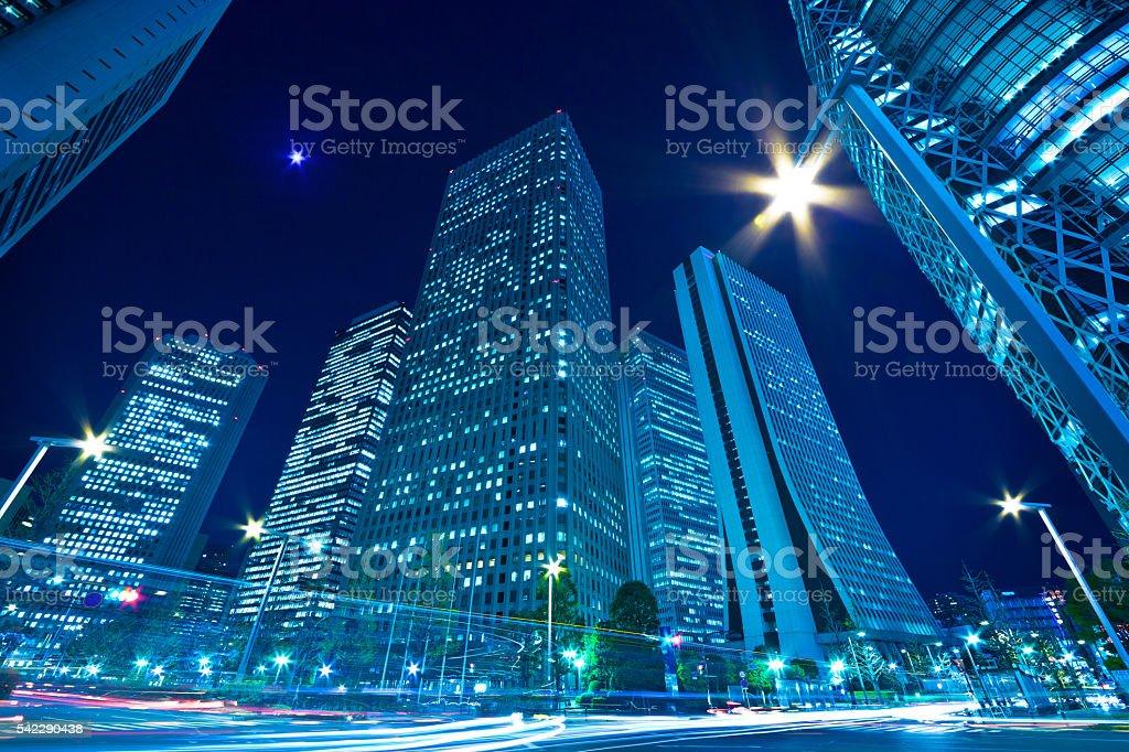 Shinjuku skyscrapers night view stock photo